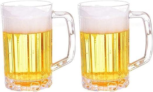 Ruesious Jarras de Cerveza clásicas de 2 Piezas, jarras de Cerveza, jarras de Cerveza - Jarras de Cerveza de plástico acrílico de 1 Pinta - Anti-caída, Resistencia a Altas temperaturas: Amazon.es: Hogar