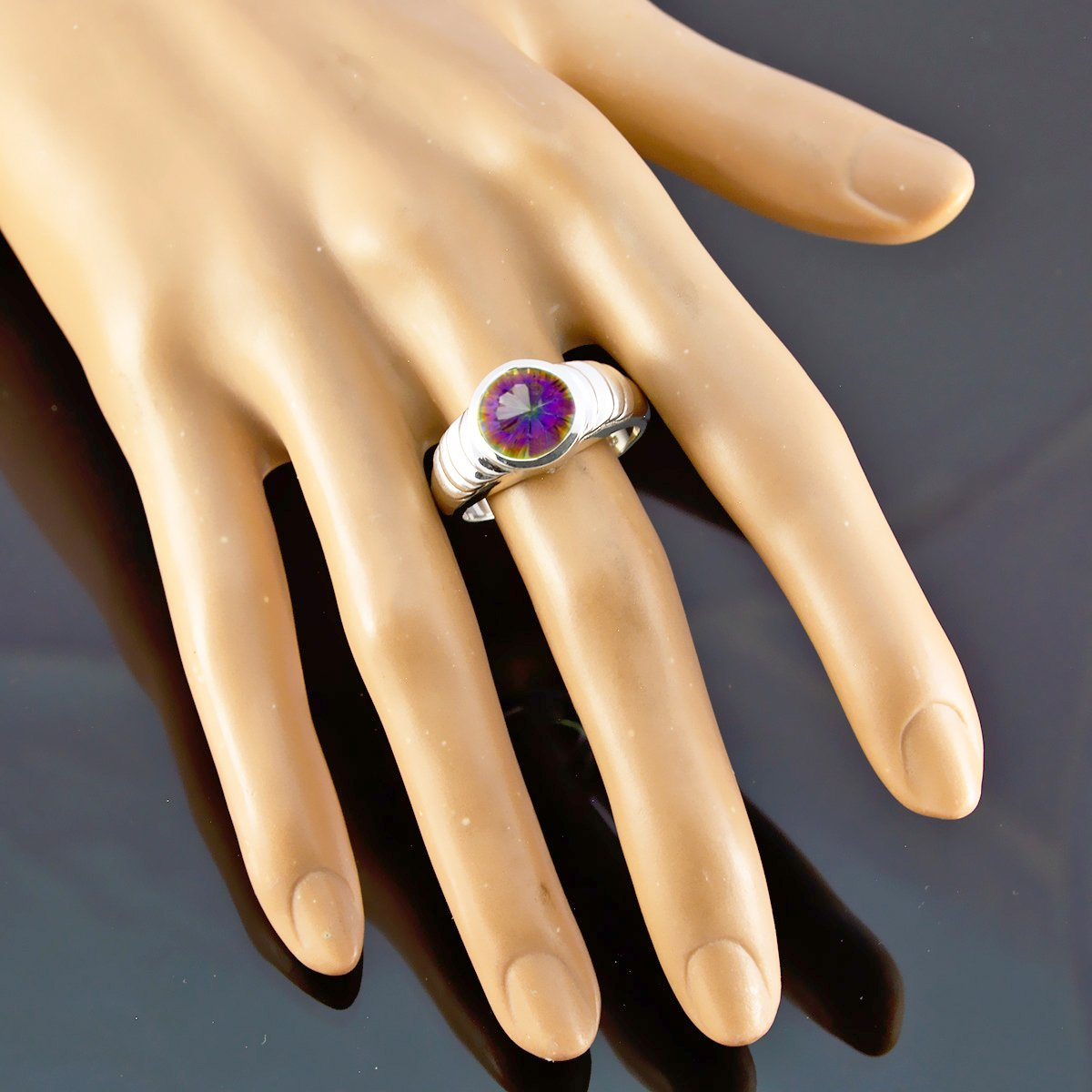 Jewelry Accessories Gift for Husband Boho Ring 925 Silver Blue Mystic Quartz Lovely Gemstones Ring Lovely Gemstones Round Faceted Mystic Quartz Ring