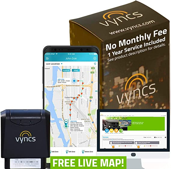 VyncsPro GPS Tracker No Monthly Fee 3G OBD Car Tracker Real Time GPS 1 Year Data Plan Included 60 Seconds GPS