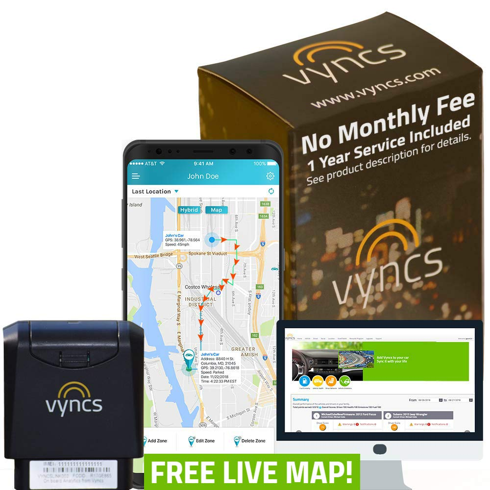 VyncsPro GPS Tracker No Monthly Fee 3G OBD Car Tracker Real Time GPS 1 Year Data Plan Included 60 Seconds GPS, Live Map, Teen Unsafe Driving Alert, Car Health, Recall, Fuel Report (Grey) by VyncsPro