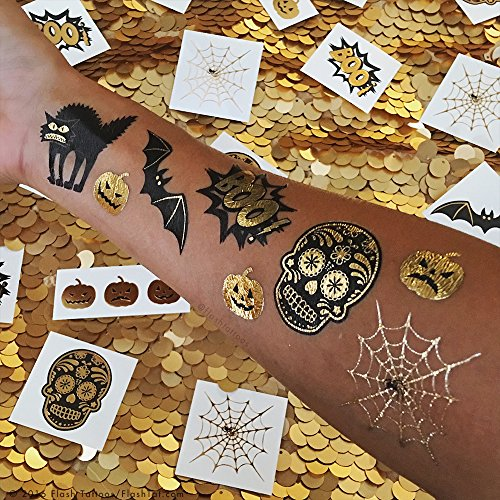 Flash Tattoos HALLOWEEN VARIETY SET of 30 assorted spooky-inspired premium waterproof metallic gold & silver jewelry temporary foil party tattoos - Party Supplies, gold tattoo, bat, pumpkin ()