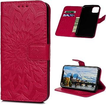 iAdvantec Funda Libro iPhone 11 Pro MAX, Estuche de Cuero Estampado de Cuero con Tapa y Cartera, Carcasa PU Leather con TPU Silicona Case Interna Suave, Rosa roja-Flor del Sol: Amazon.es: Electrónica
