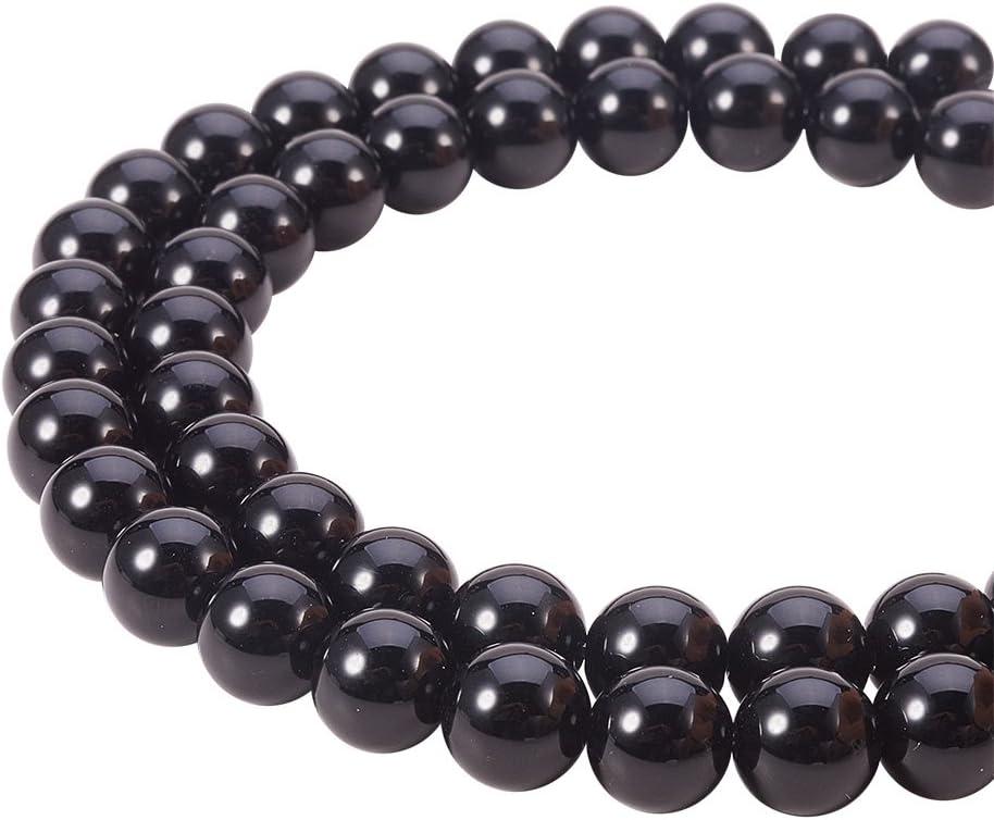 PandaHall Elite – aproximadamente 49 piezas / hilo de 8 mm perla de obsidiana natural perlas redondas de grado a cuerdas de perlas para pulsera collar DIY joyas, color negro, agujero: 1 mm
