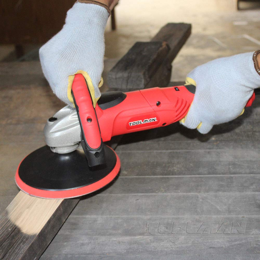 Toolman Compact Polishing Buffer Waxer Sander Machine 7'' W/ Wool pad & sandpaper works with DeWalt Makita Ryobi by TOOLSMAN (Image #4)