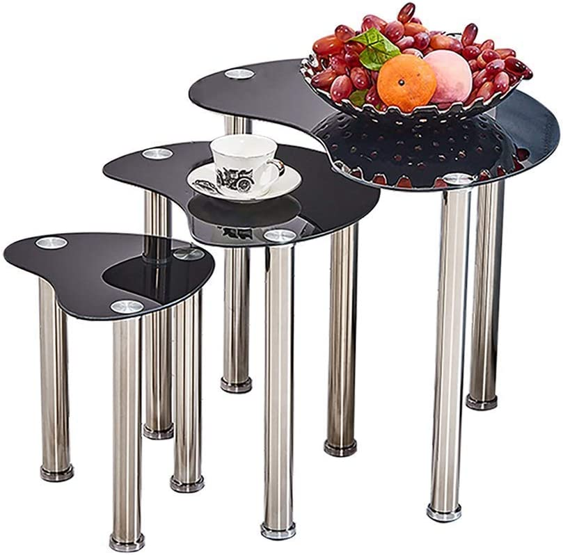 Bestellen GWFVA Moderne set met 3 nisttische zwarte glazen sofa koffie kleine tafel voor woonkamer bijzettafel bijzettafel woonmeubilair (zwart) zwart HQQD0PU