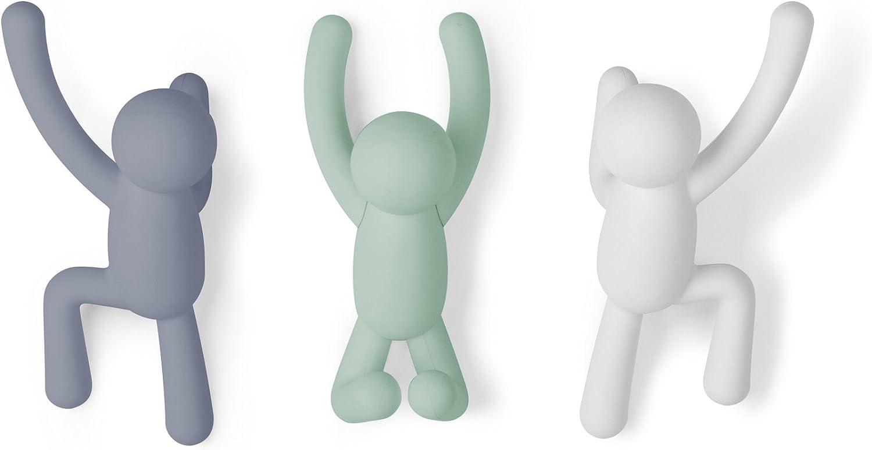 Umbra Buddy Percheros de Pared Varios Colores, Multi Lite, 7.6 x 16.5 x 7.6 cm Pack de 3