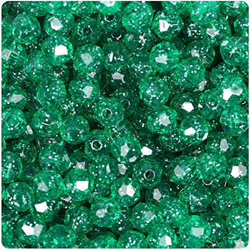 BEADTIN Emerald Green Sparkle 8mm Faceted Round Craft Beads (450pc) - Faceted Emerald Green