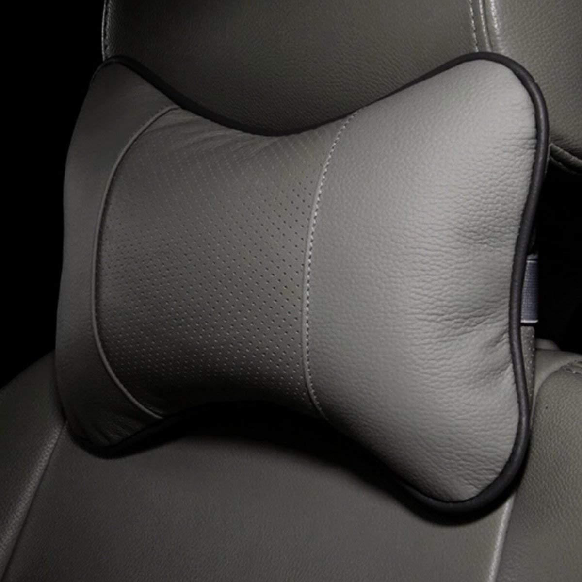 Gugutogo Cuscino poggiatesta a Forma di Osso Solido Cuscino in Pelle di Stoffa per Auto Testa cilindrica (Colore: Grigio)