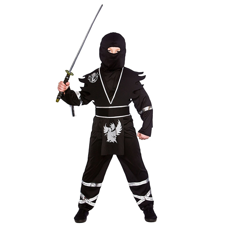 Ninja Assassin Negro / Plata Disfraz para chicos (M 5-7 años ...