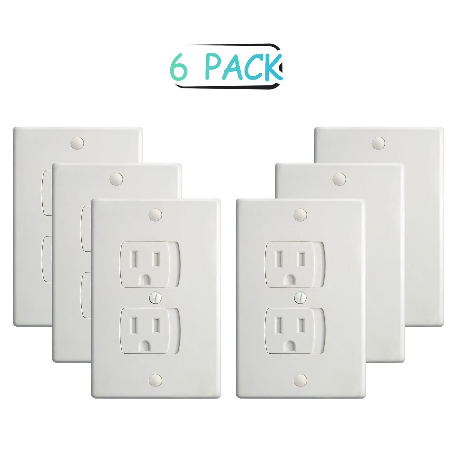 Amazon electrical safety baby products baby proof electrical outlet covers 6 pack self closing wall plug covers sciox Choice Image
