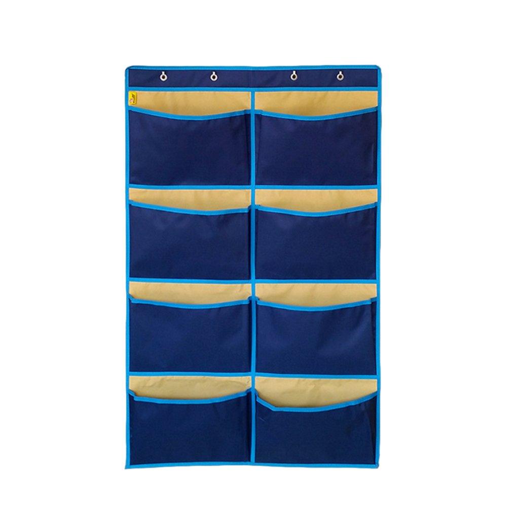 Homyl Oxford Cloth Solid Wall Pocket Hanging Storage Bag Waterproof Organizer - 8 Pockets Blue