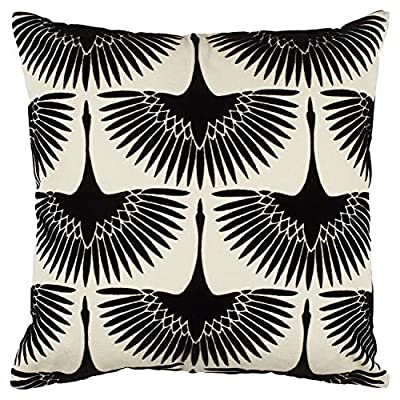 "Amazon Brand – Rivet Modern Velvet Geese Silhouette Decorative Throw Pillow, 17"" x 17"", Black - Silhouettes of Black velvet geese are slightly raised above a white background on the front of this throw pillow; the back is Black faux linen. Its plush texture and eye-catching style will add a conversation piece to a transitional or modern room. 17"" x 17"" Front: 100% Cotton; Back: 100% Polyester - living-room-soft-furnishings, living-room, decorative-pillows - 617V1NZi9lL. SS400  -"