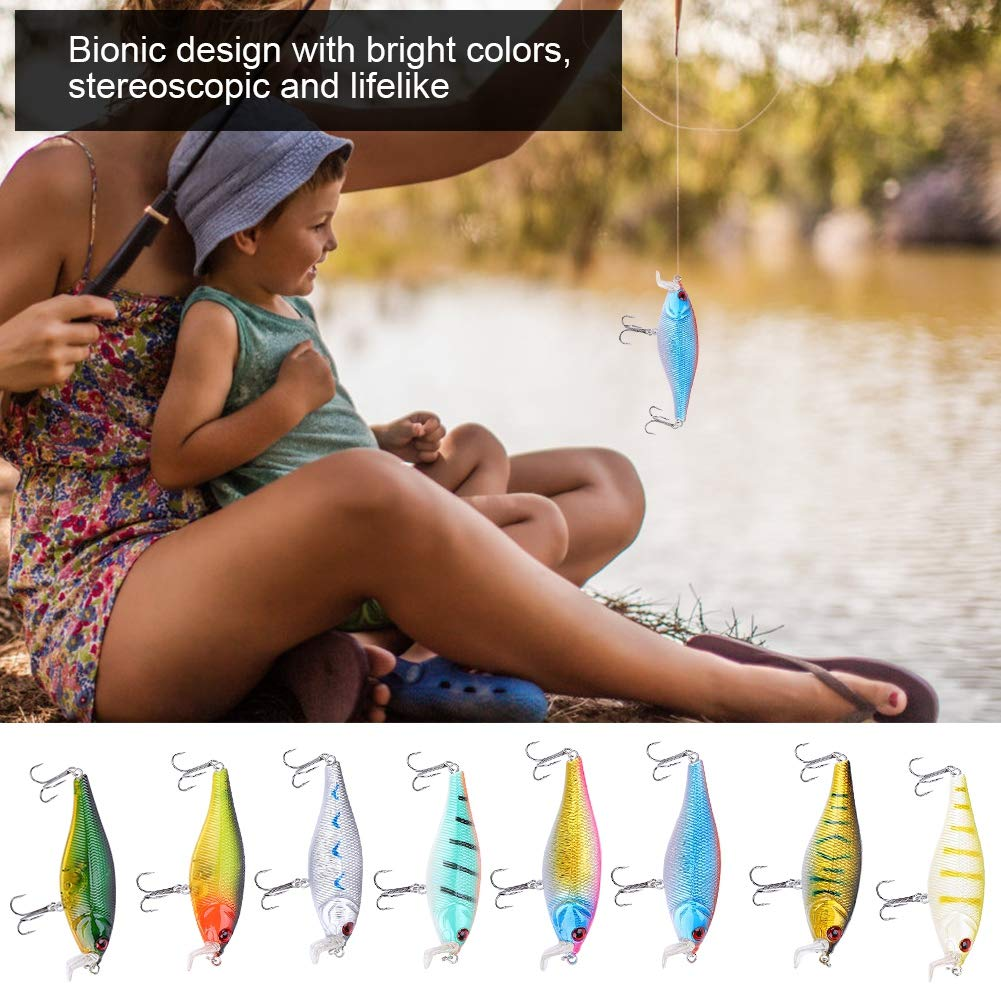 8PCS 10cm 14.3g Se/ñuelos Duros de pl/ástico Realista Cebo de Pesca Artificial con el Accesorio Sharp Fisher Cebo de Pesca Artificial