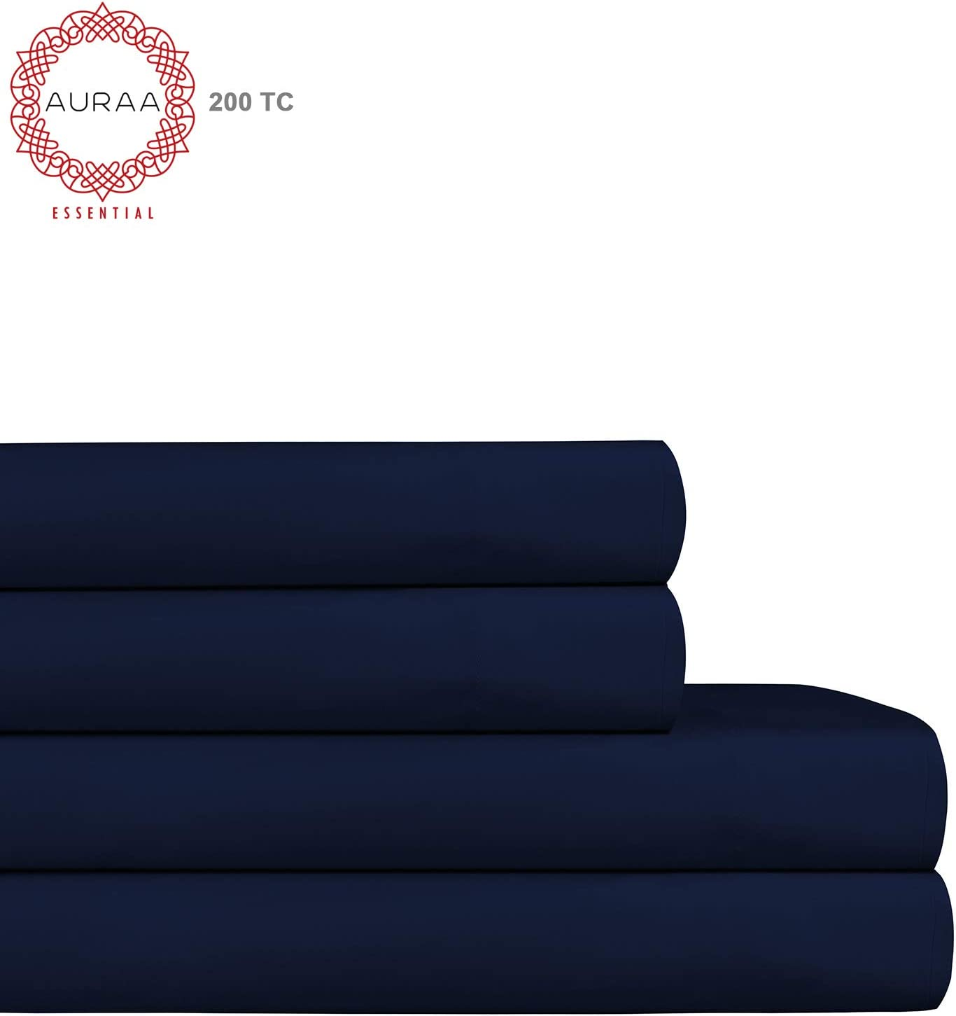 "AURAA ESSENTIAL 100% Long Staple Cotton Sheet Set - King Sheets - 4 Piece Set,Soft & Smooth Percale Weave,16"" DEEP Pocket,Luxury Hotel Bedding,Oeko-TEX Certified, Medieval Blue"