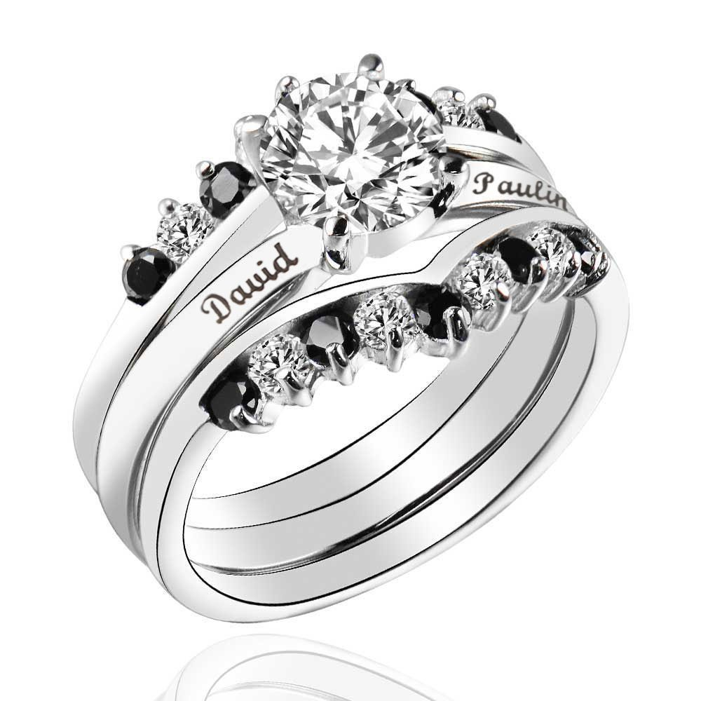 Free Text Engrave 2.0CT Sterling Silver 925 Black CZ Cubic Zirconia Wedding 3 pieces Ring Set Size 6