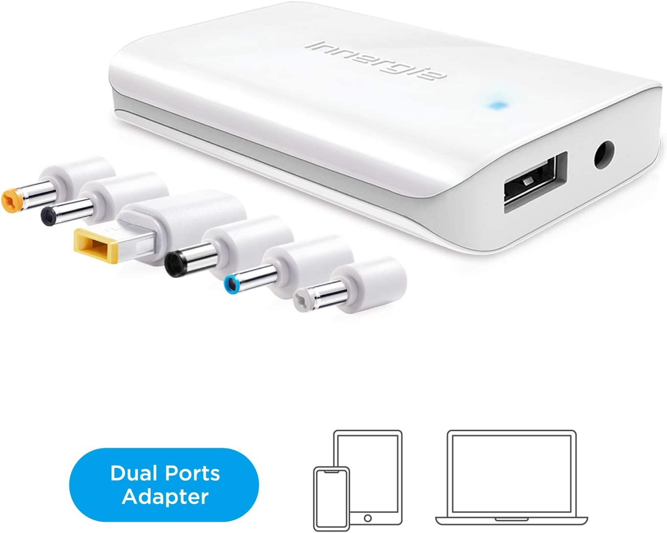 Innergie PowerGear 65 Pro, Dual Port 65W Phone/ Laptop Charger, Power Adapter with 6 Laptop Connectors for Lenovo/ HP/ Dell/ Acer/ASUS & More. USB Port Compatible with iPhone, iPad, Samsung & more
