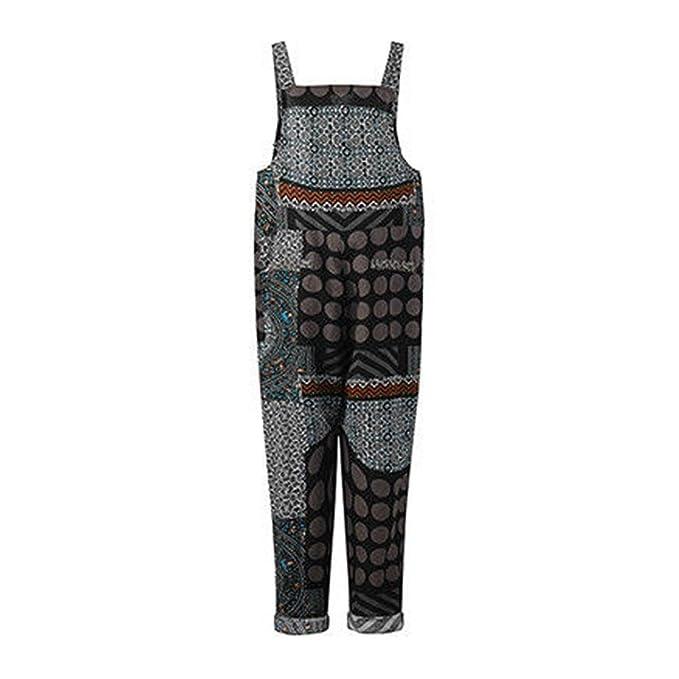 3a809b3f58 Amazon.com  iYYVV Cargo Women Plaid Dot Printed Boho Loose Bib Pants  Dungarees Overalls Jumpsuit  Clothing