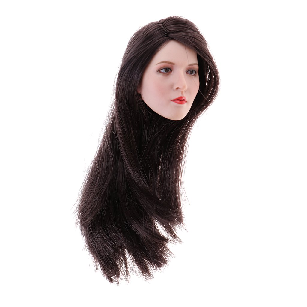 Homyl 1 6 Scale Female Head Sculpt With Black Hair For 12 Inch Action Figure