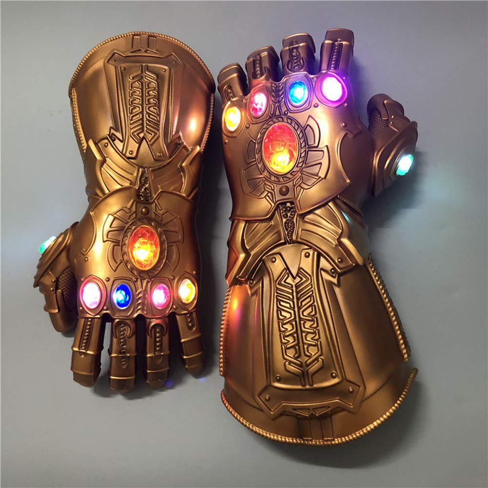 ke Tanos Glowing Infinite Gloves Avengers 4 Cosplay Fans Props Halloween Costume Heroes Play Children's Gloves Toy (Child)