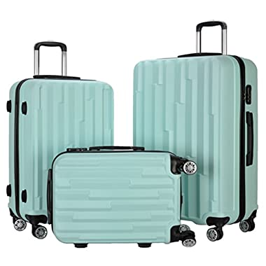 Resena 3 Pieces Diamond Luggage Sets Carry On Spinner Luggage Suitcase (20  24  28 ) (Green)