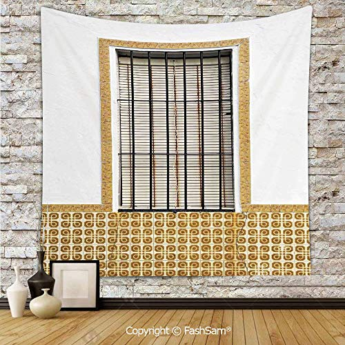 FashSam Tapestry Wall Hanging Image of Modern Spanish Window and Shutters with Mosaic Patterns Urban Style Decor Tapestries Dorm Living Room Bedroom(W39xL59)