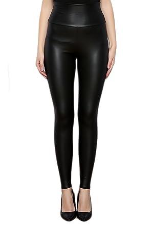 SodaCoda Damen Sexy Kunst-Leder Leggings - Hohe Taille Wet-Look (Matt  Schwarz 260de26eaa