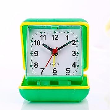Cuadro de moda creativa Reloj despertador digital pequeño mostrador de viajes estudiantes reloj reloj mesa cuadrada, verde: Amazon.es: Hogar