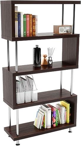 Bestier 5 Shelf Geometric Bookcase S-Shaped
