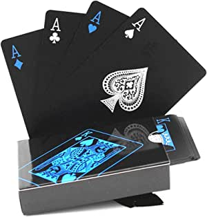 BeeSpring Waterproof PVC Playing Cards Set Pure Color Black Poker Card Classic Magic Tricks Tool, 54pcs/Deck