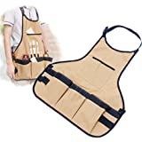 Onepalace Art Drawing Aprons Clothes Professional Painting Apron Painting Clothes Sleeveless Type Waterproof Canvas for Woman and Man (Brown)