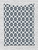 qinghexianpan Geometric Tapestry, Floral Arrangement Symmetric Pattern Soft Color Ceramic Style Design Nature, Wall Hanging for Bedroom Living Room Dorm, 60 W X 80 L Inches, Indigo White