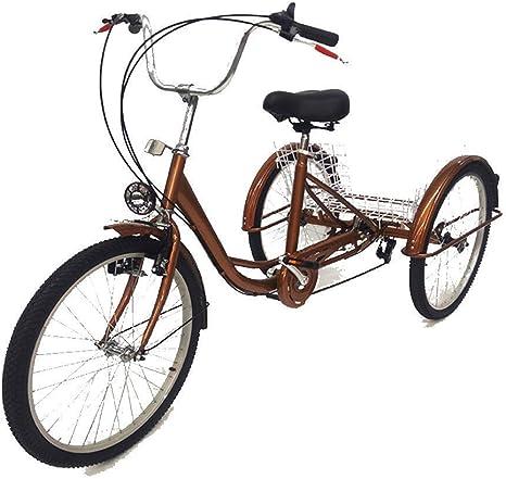 Triciclo para Adultos de 24 con 3 Ruedas con lámpara, Triciclo de ...