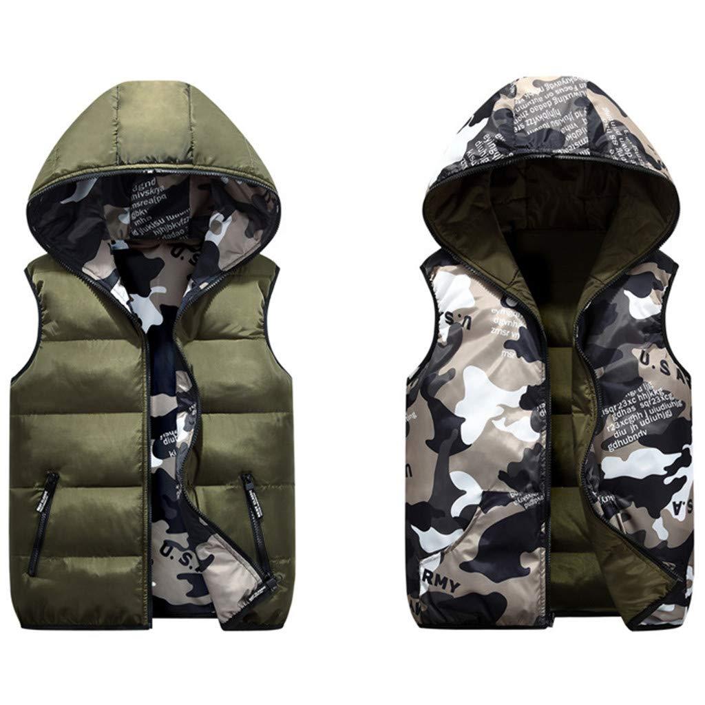 Piumino Senza Maniche Gilet con Cappuccio Bambini Reversibile Giacca Inverno Cappotto Camuffare Blu 5-6 Anni