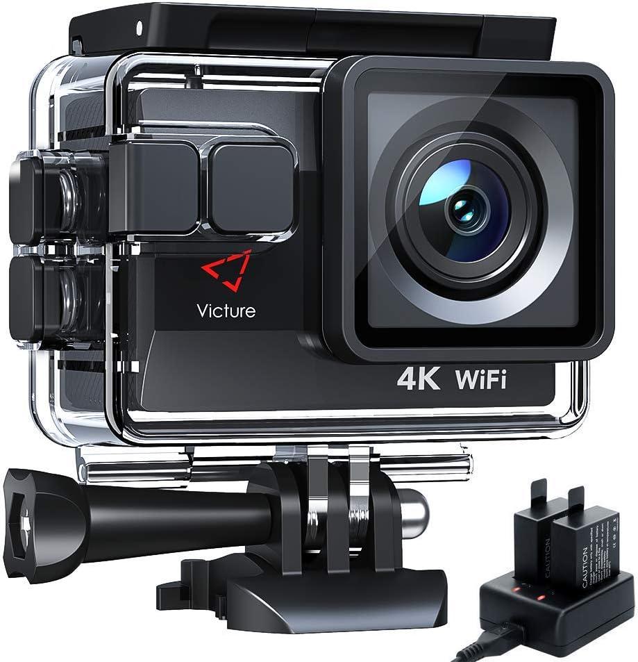 Victure AC800 Cámara Deportiva Wi-Fi 4K Ultra HD 20MP (Action Camera Acuatica de 40M con 2 Baterías y Cargador Externo, Funciones Anti-Shaking y Time Lapse): Amazon.es: Electrónica