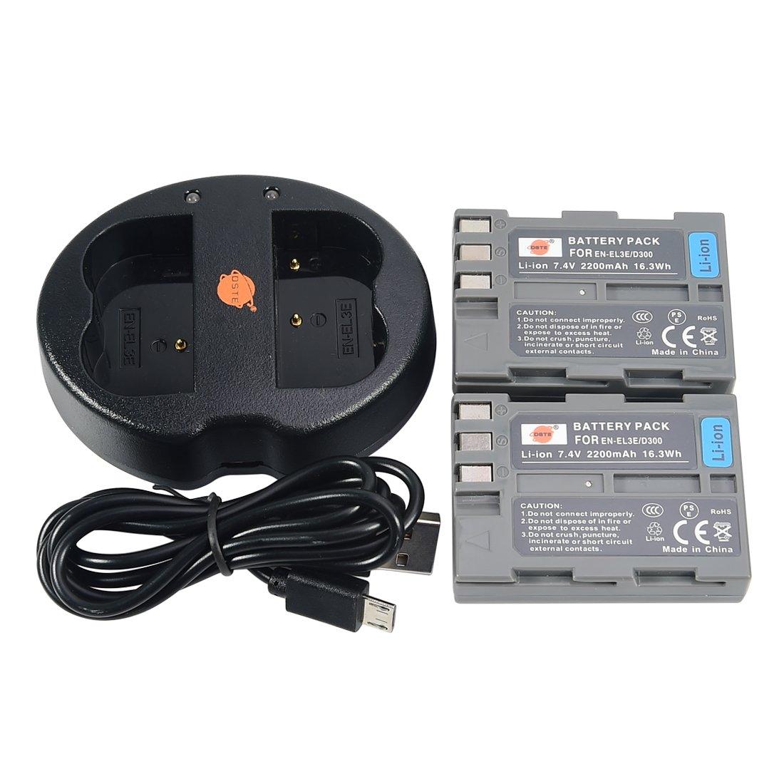 DSTE 2pcs Batería + Cargador de Batería USB para Nikon EN-EL3E D30 D50 D70 D70S D80 D90 D100 D200 D300 D300S D700