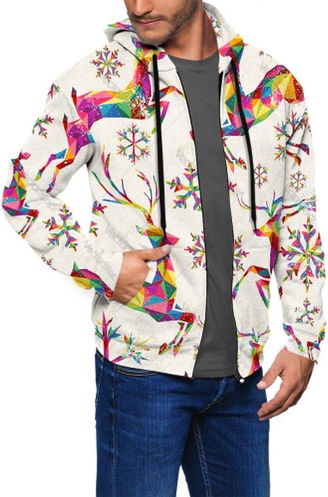 Long Sleeve Hoodie Print Christmas Vintage Retro Jacket Zipper Coat Fashion Mens Sweatshirt Full-Zip S-3xl