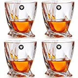 Twist Whiskey Glasses - Set of 4 - Old Fashioned Glasses with 4 Drink Coasters - Ultra Clarity Lead-free Crystal Glassware for Scotch, Bourbon, Liquor, Brandy - Elegant Gift Set