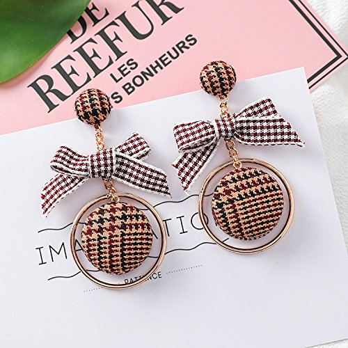 (usongs autumn and winter black and white houndstooth buttons personality geometric circle earrings bow knot earrings)