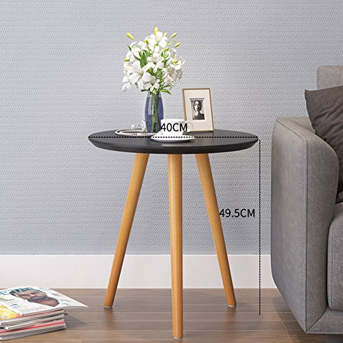 Oak Magazine Floor Lamp - D&L Wood Waterproof Side table, Round End table Nordic Modern Sofa table Telephone table Bbalcony Coffee table Storage rack-black 40x49.5cm