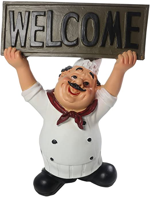 Home Garden Fat Italian Chef Holding Welcome Sign Figurine 8 Tall Cute Kitchen Decor Gift Nautical Figurines