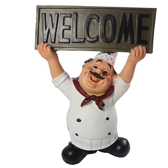 KiaoTime 15016C Italian Chef Figurines Kitchen Decor with Welcome Sign Board Plaque Home Kitchen Restaurant Decor 8""