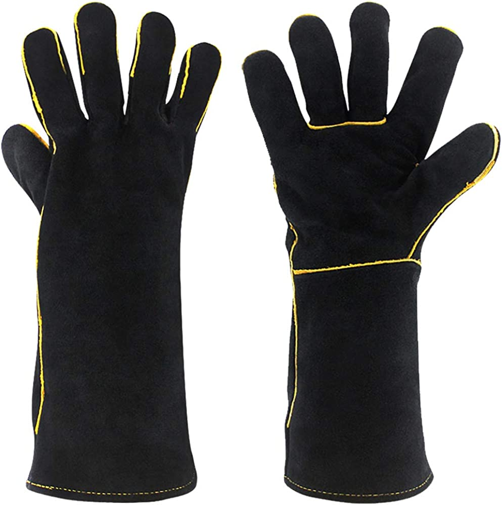 Blackhorse Leather Welding Gloves Extreme Heat//Fire Resistant 14 reinforced thumb /& palm Kevlar Stitching for Welding//Oven//Grill//Fireplace//Furnace//Stove//Pot Holder//BBQ