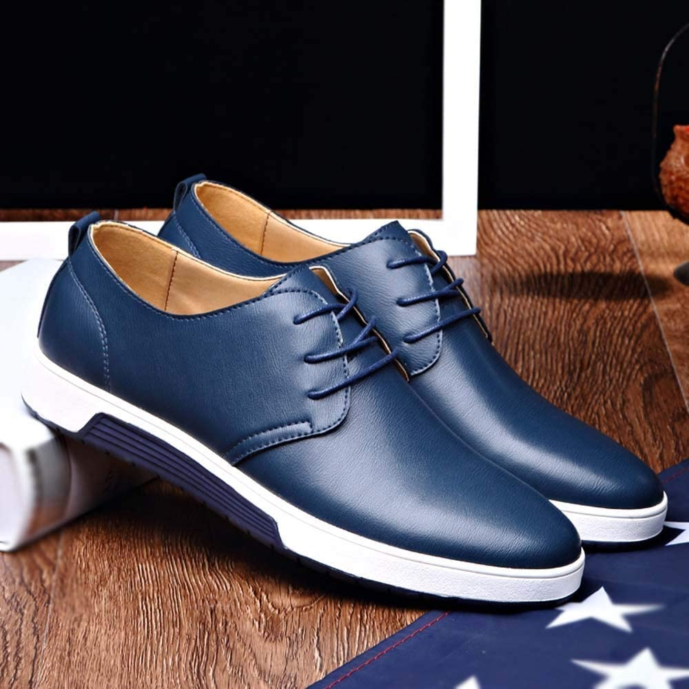 Fashion Men Business Shoes Casual Leather Non-Slip Lace-up Flat Shoes Wedding Shoes
