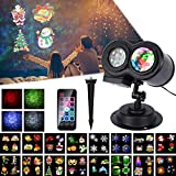 LED Projector Lamp, LUXONIC Waterproof Outdoor Water Wave & Rotating Gobos Double Projection Light Decoration Landscape Projector Light with Remote Control and 16 Animated Pattern Slides for Party, Christmas, Halloween, Holiday