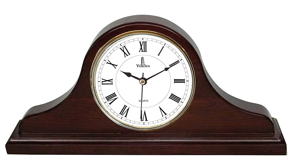 "Best Mantel Clock, Silent Decorative Wood Desk Clock, Battery Operated, Dark Wooden Design, for Living Room, Office, Kitchen, Shelf & Home Décor Gift - 15"" x 7.5"""