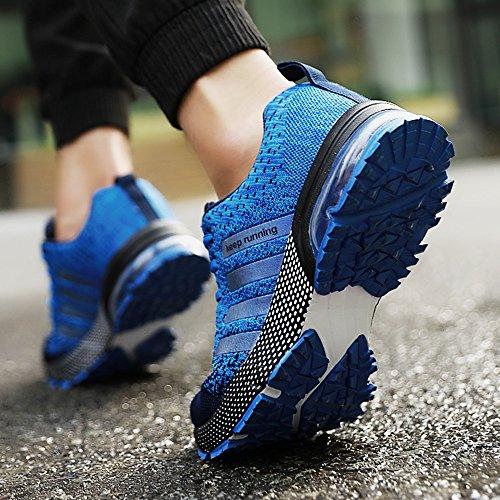 PAMRAY Herren Damen Sneaker Trekking Running Fitness Laufschuhe Air Sohle Low Top Mesh Turnschuhe 36-46 Schwarz Schwarz-Weiss Blau Rot Blau