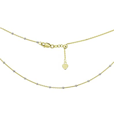 8929912bff185 Ritastephens 14k Yellow White Gold Two Tone Saturn Beaded Station  Adjustable Choker or Chain Necklace