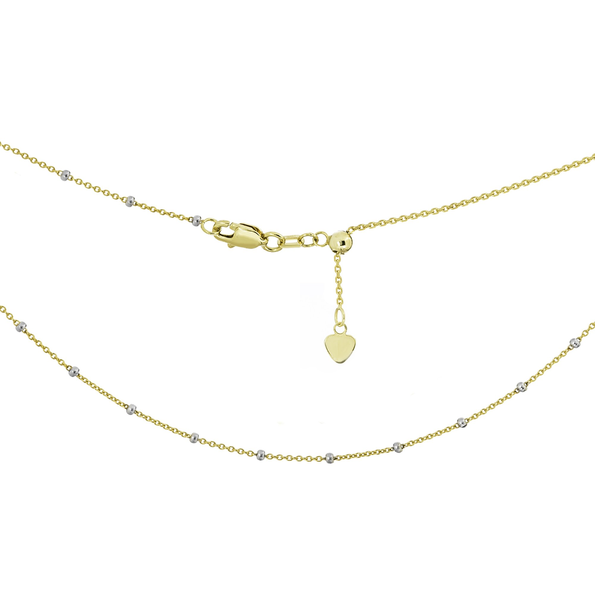 Ritastephens 14k Yellow White Gold Two Tone Saturn Beaded Station Adjustable Choker Necklace