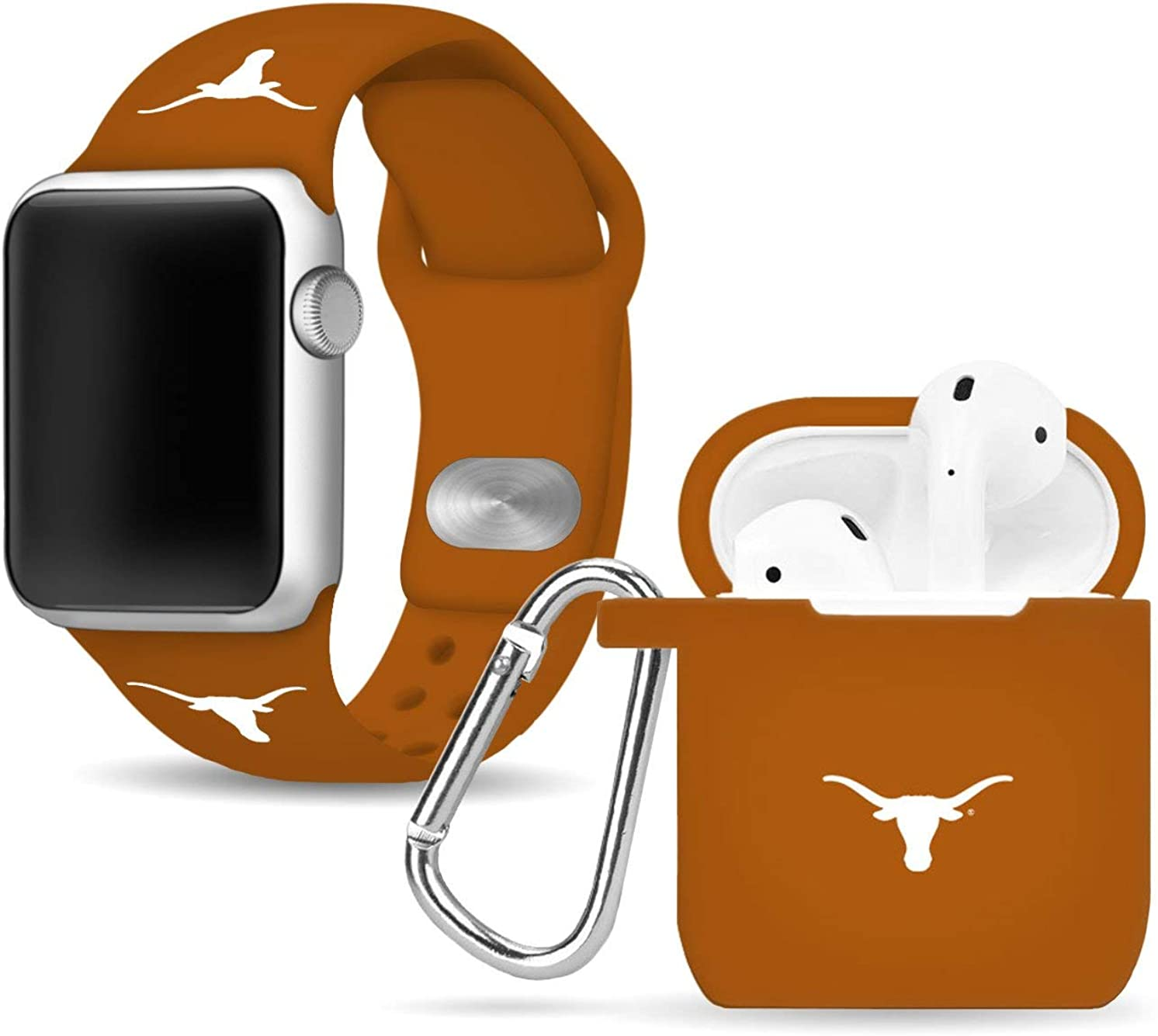Texas Longhorns Silicone Watch Band & Case Cover Combo Package Compatible with Apple Watch and AirPods Battery Case