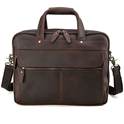 Amazon.com  Tiding Men s Genuine Leather Business Briefcase Messenger Bag  15 Inch Laptop Tote Bag (Brown)  Tiding c605059b85cb4